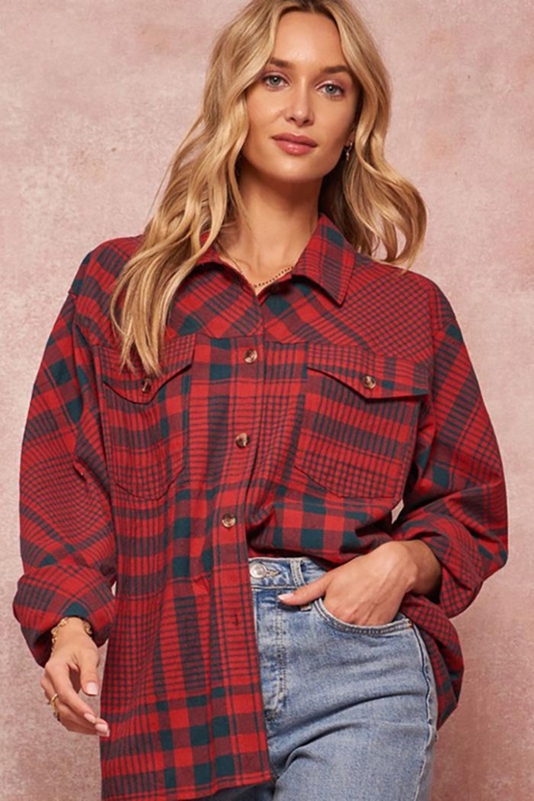 Promesa USA Graphic Print Oversized Plaid Shirt - Front Full Image