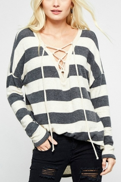 Shoptiques Product: Lace-Up Knit Sweater