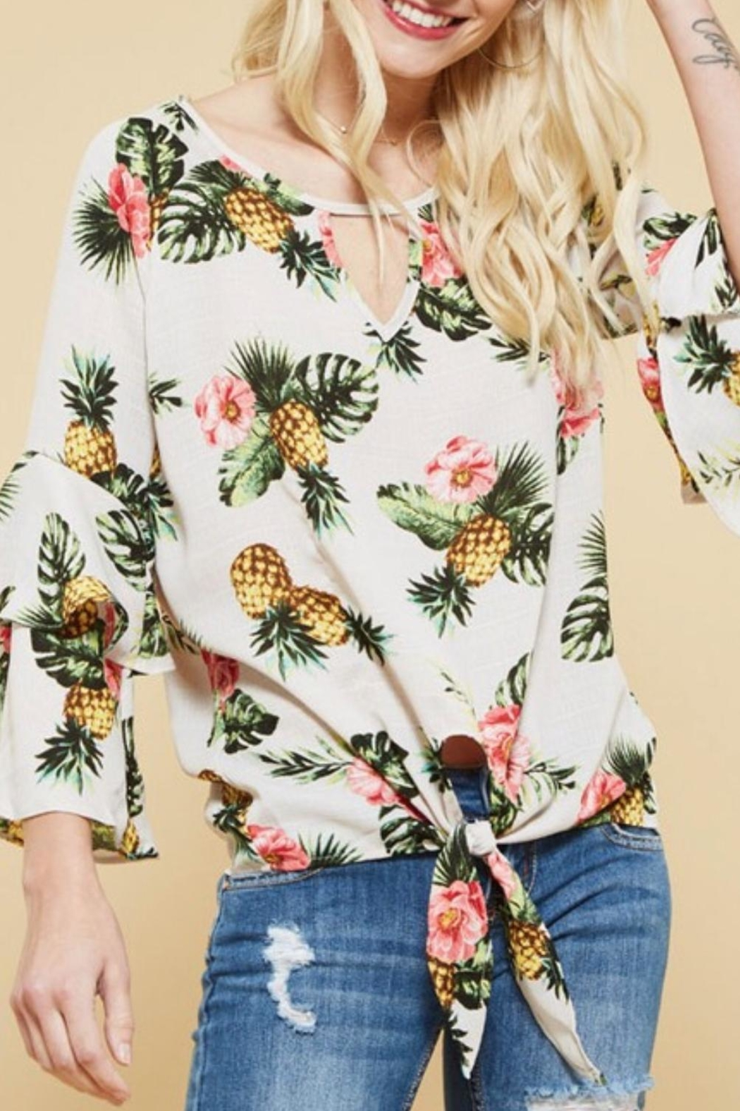 Promesa USA Pineapple Woven Top - Front Full Image