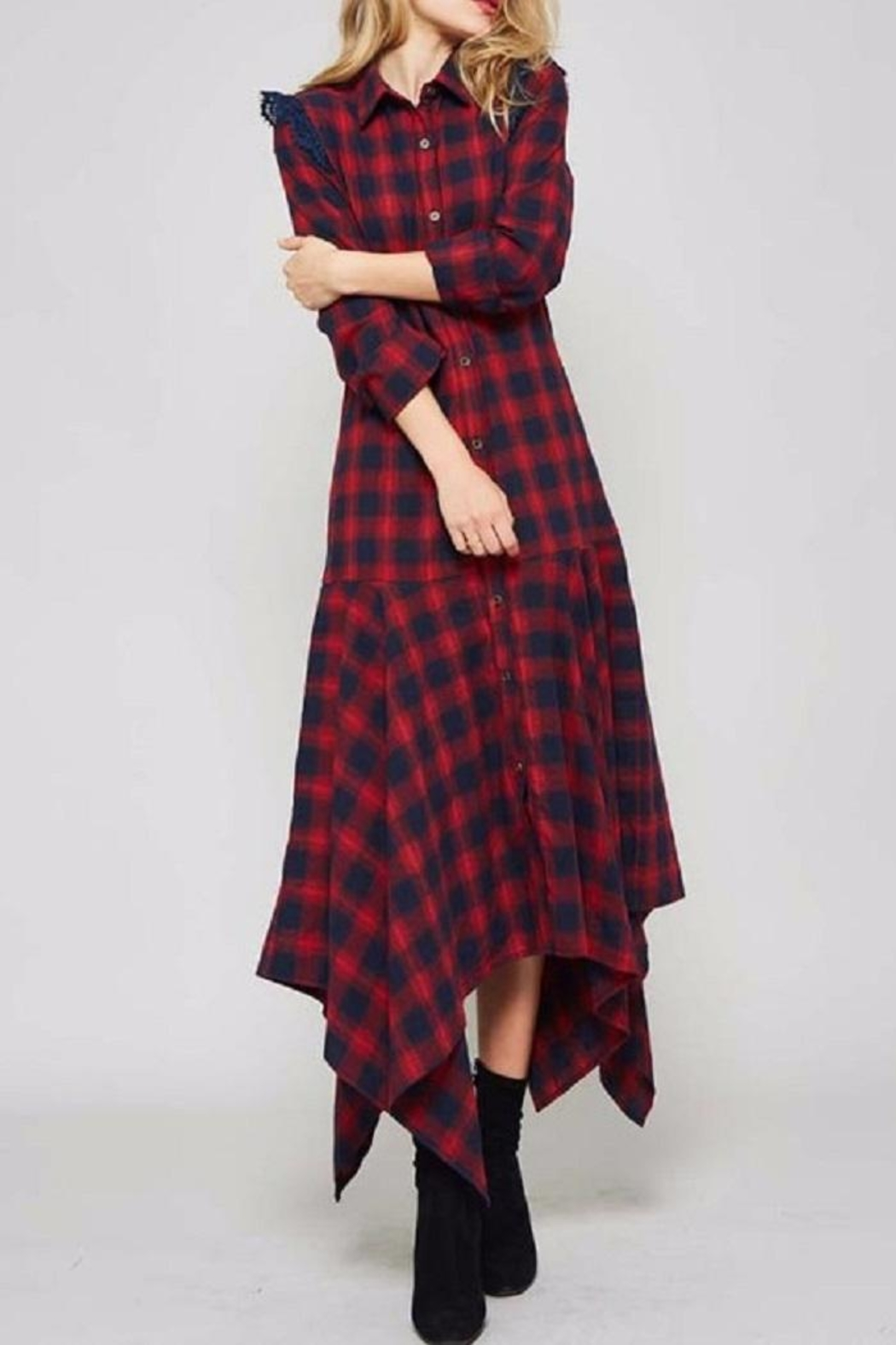 Promesa USA Plaid Shirt Dress - Main Image
