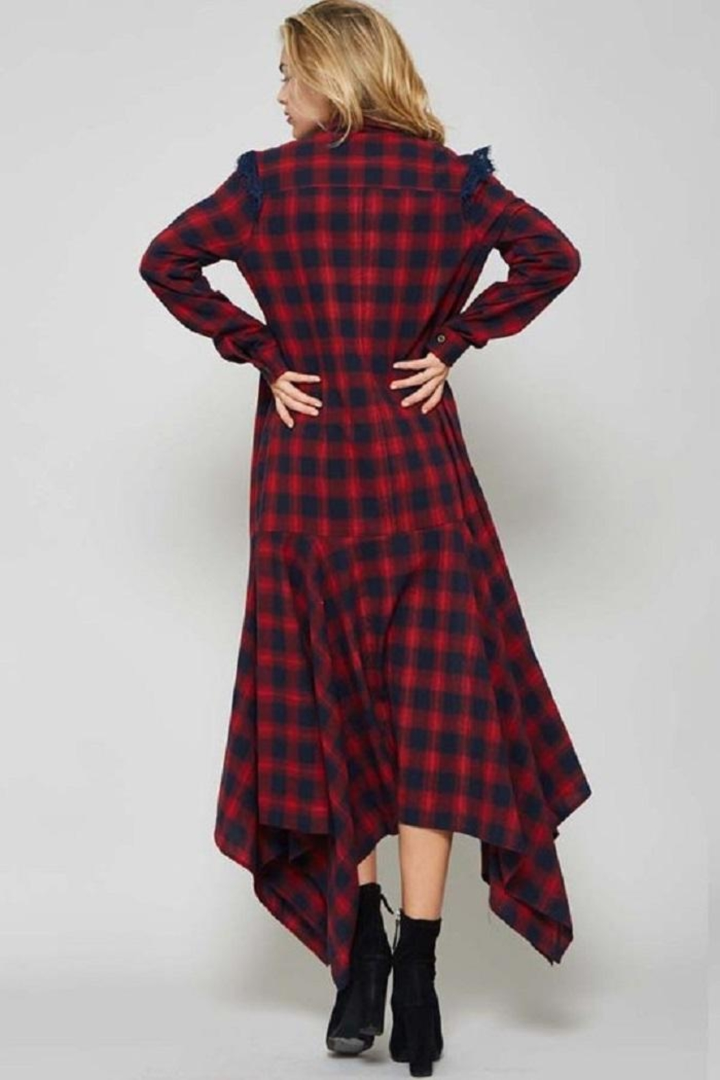 Promesa USA Plaid Shirt Dress - Back Cropped Image