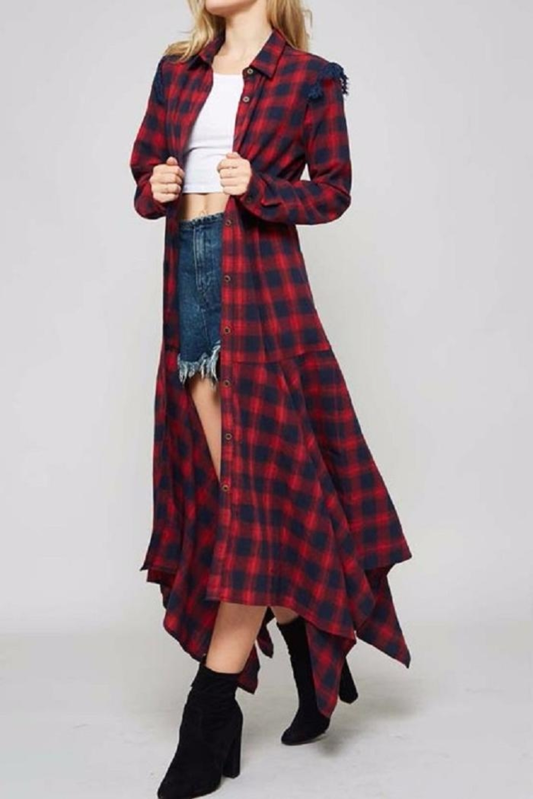 Promesa USA Plaid Shirt Dress - Front Full Image