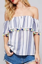 Promesa USA Stripe Pom Top - Front cropped