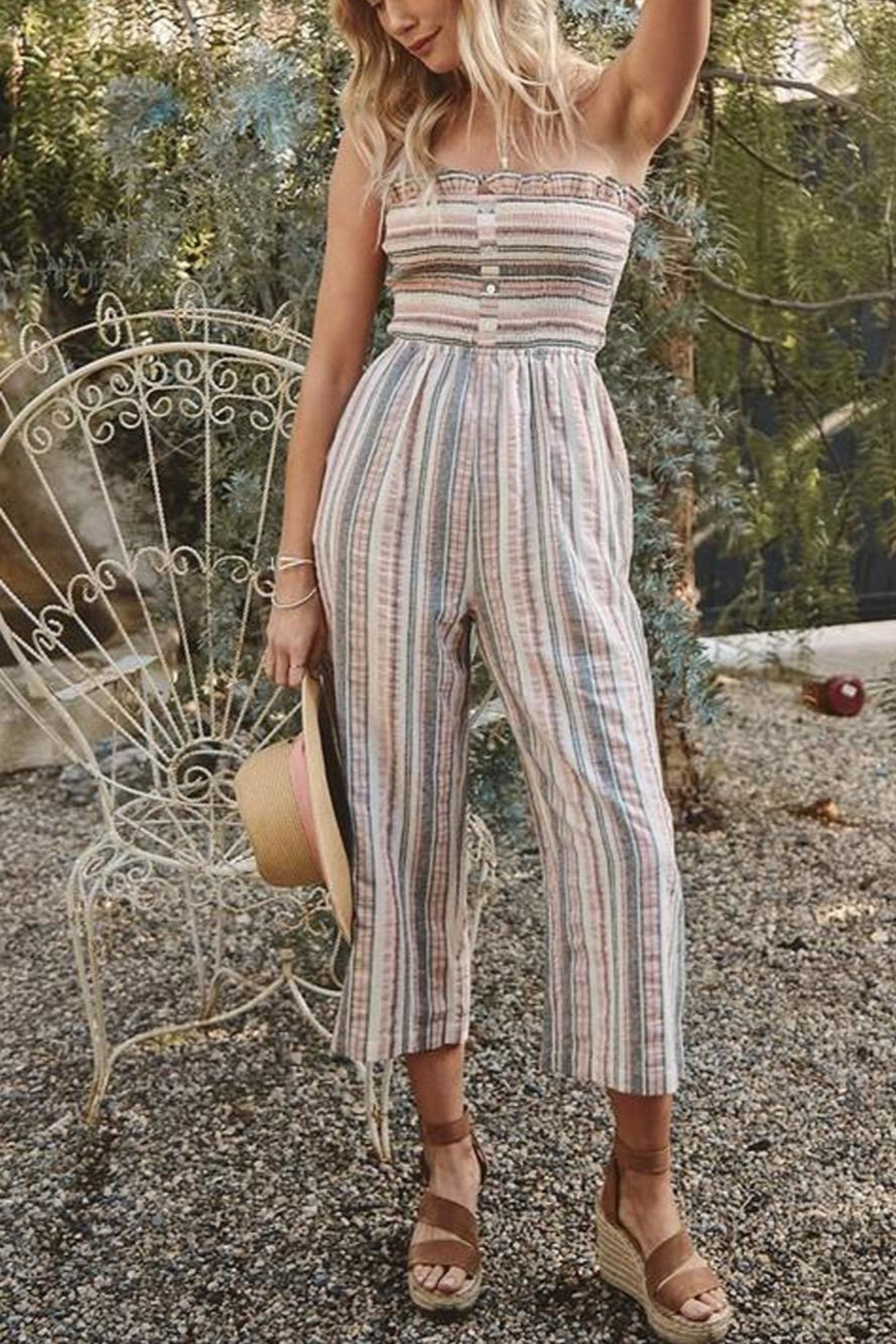 Promesa USA Striped Strapless Jumpsuit - Front Cropped Image