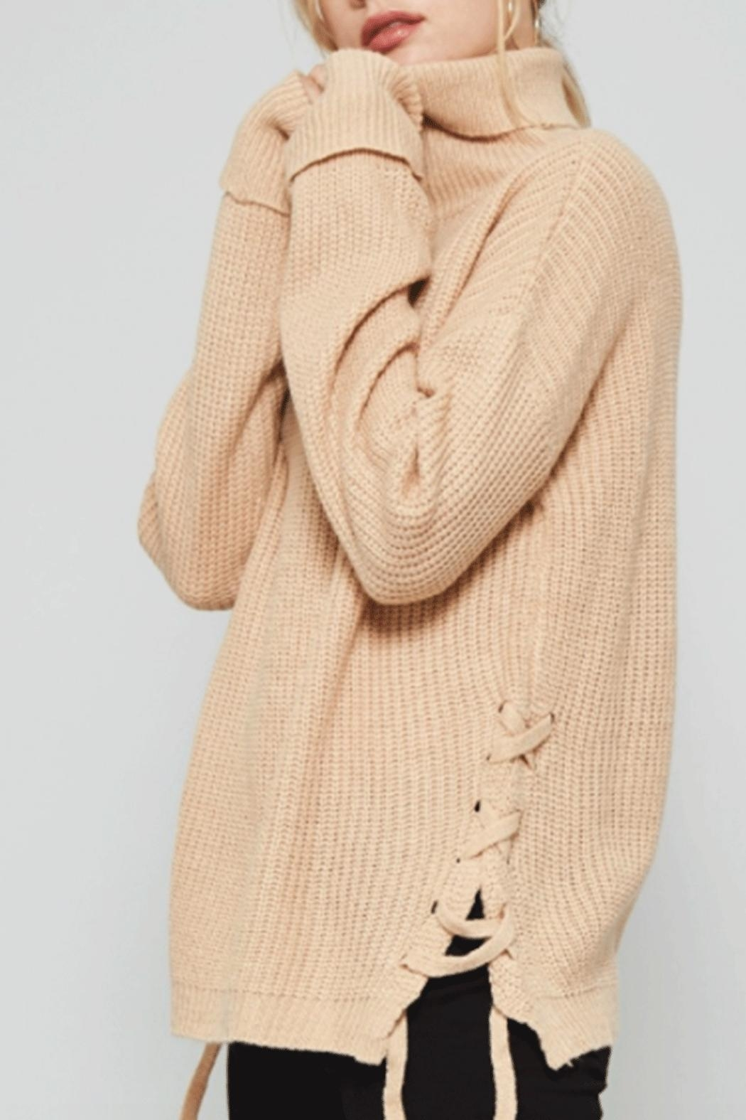Promesa USA Tan Turtleneck Sweater - Front Cropped Image