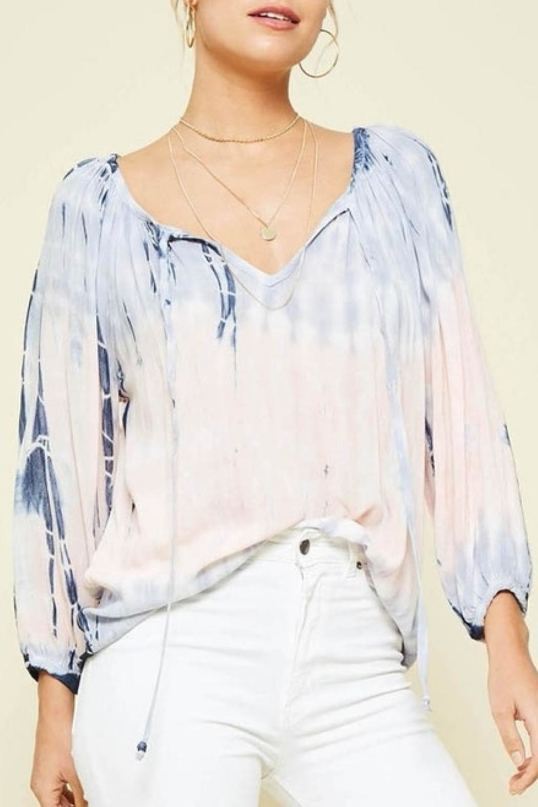 Promesa USA Tie-Dye Peach Blouse - Front Cropped Image