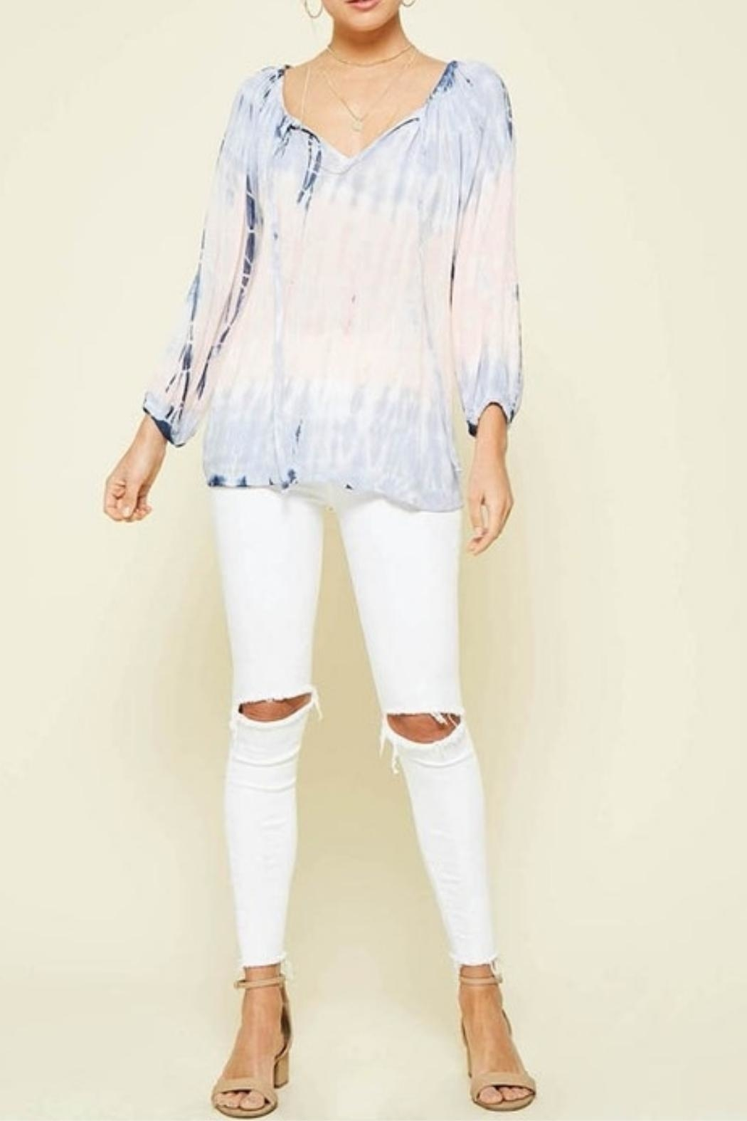 Promesa USA Tie-Dye Peach Blouse - Front Full Image