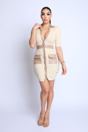 5th Culture PU Contrast Ribbed Dress - Product Mini Image