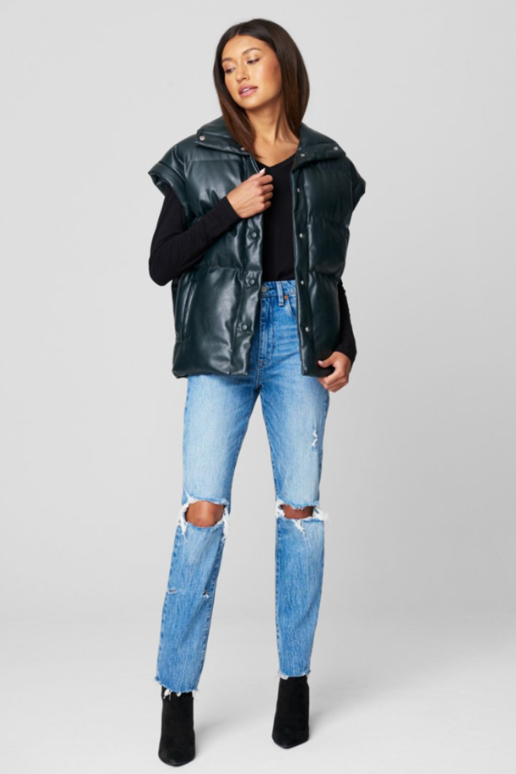 Blank NYC PU QUILTED VEST - Front Cropped Image