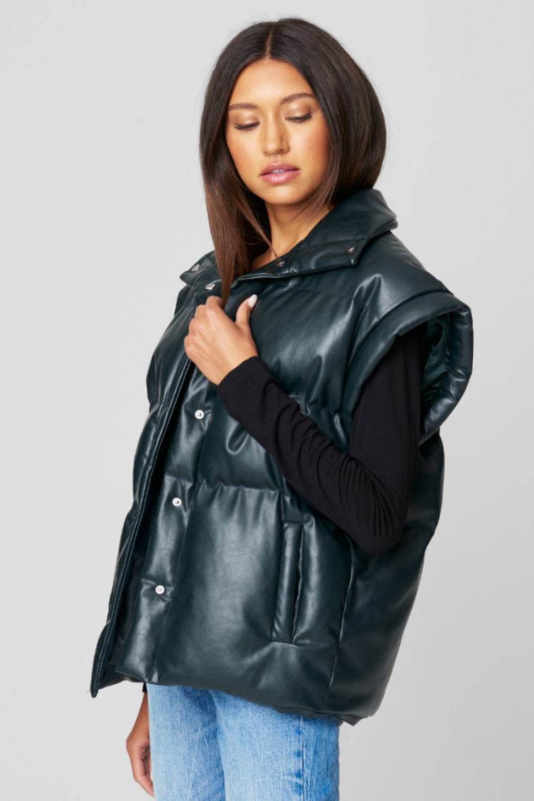 Blank NYC PU QUILTED VEST - Front Full Image