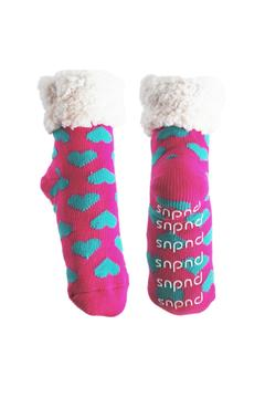 pudus Blue Hearts Slipper Socks - Alternate List Image