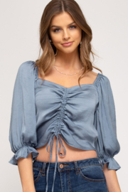 She and Sky Puff Short Sleeve Crop Satin Top - Product Mini Image