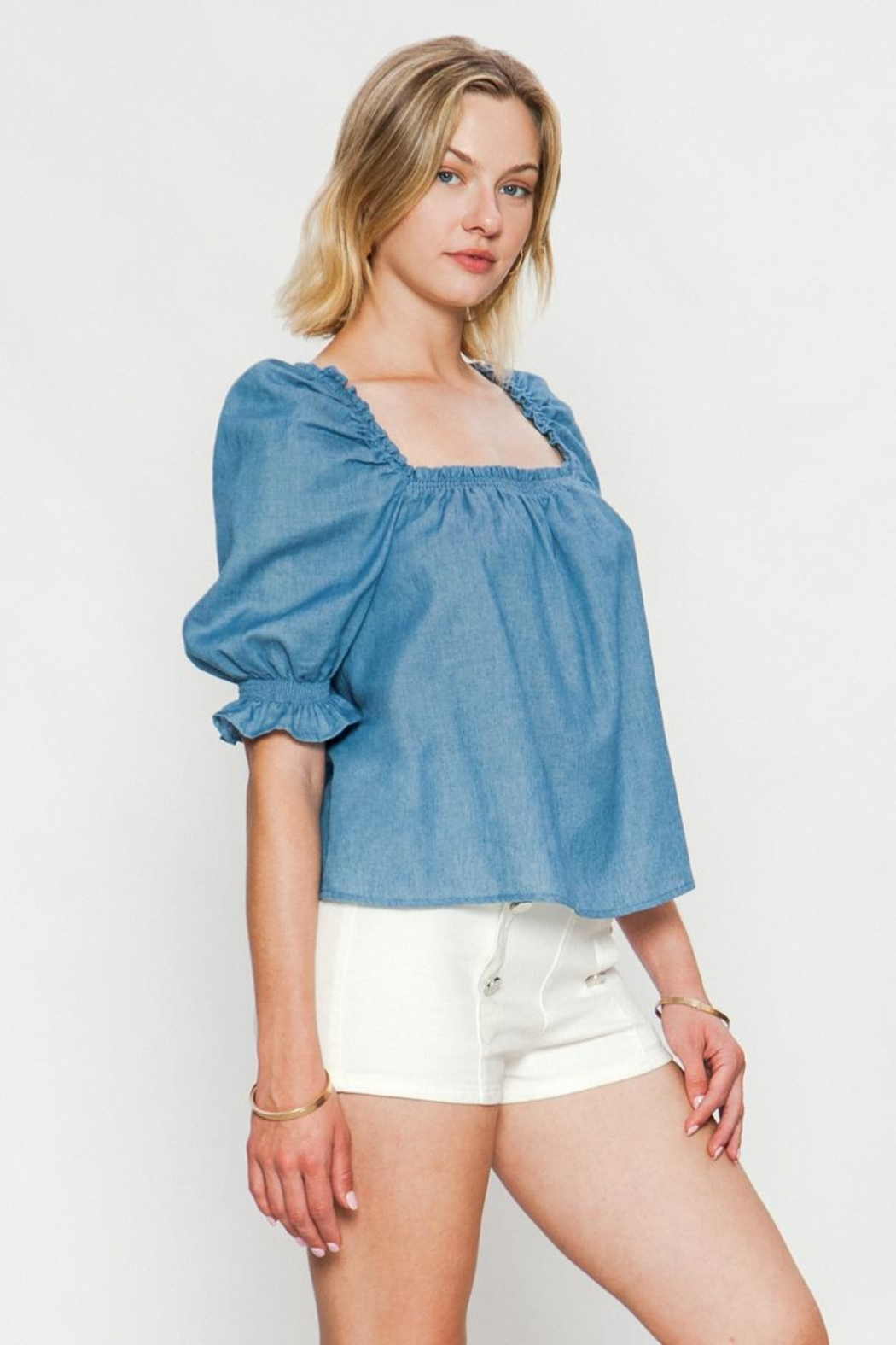 Jealous Tomato Puff Shoulder Top - Front Full Image