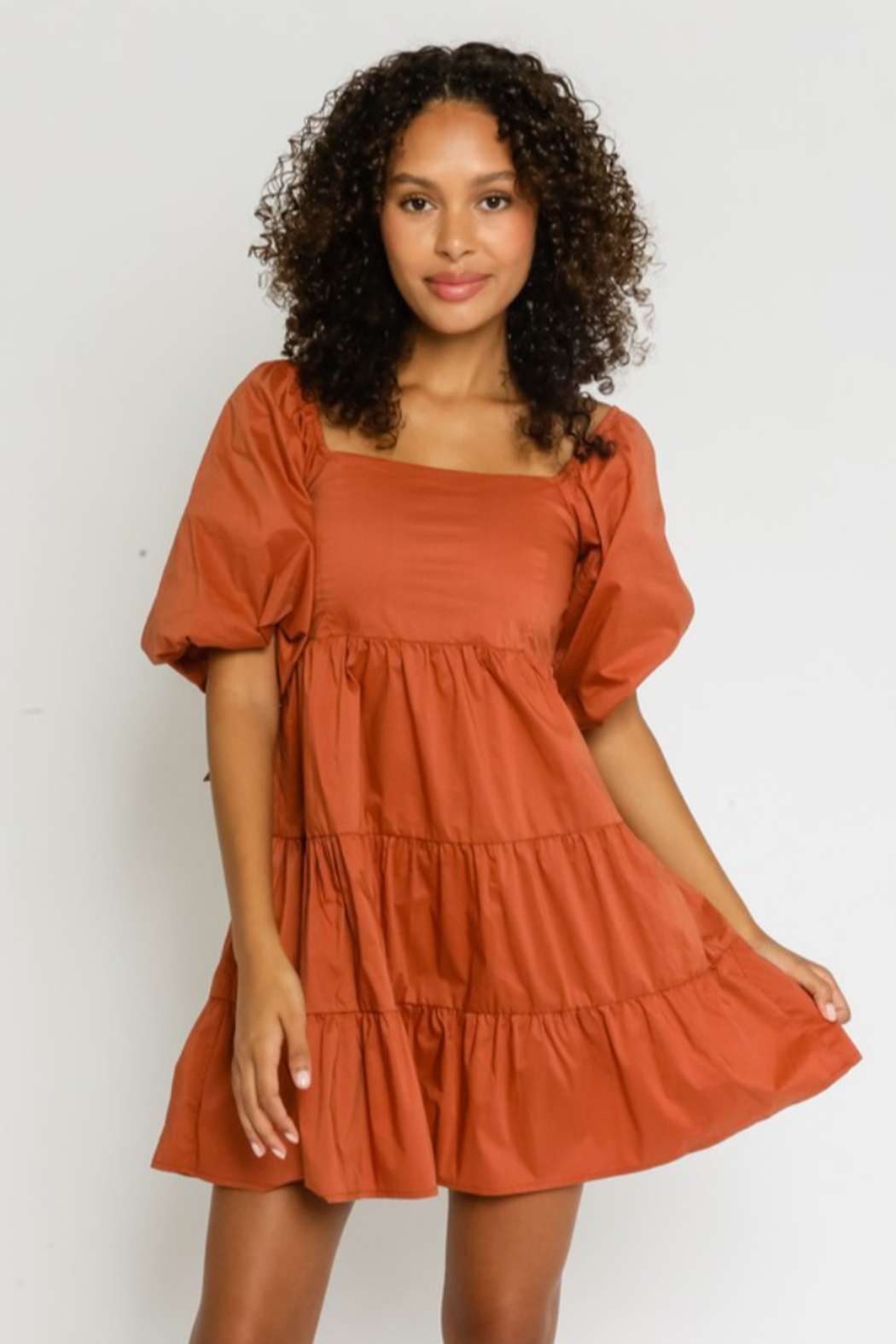 Olivaceous  Puff Sleeve Babydoll Dress - Main Image
