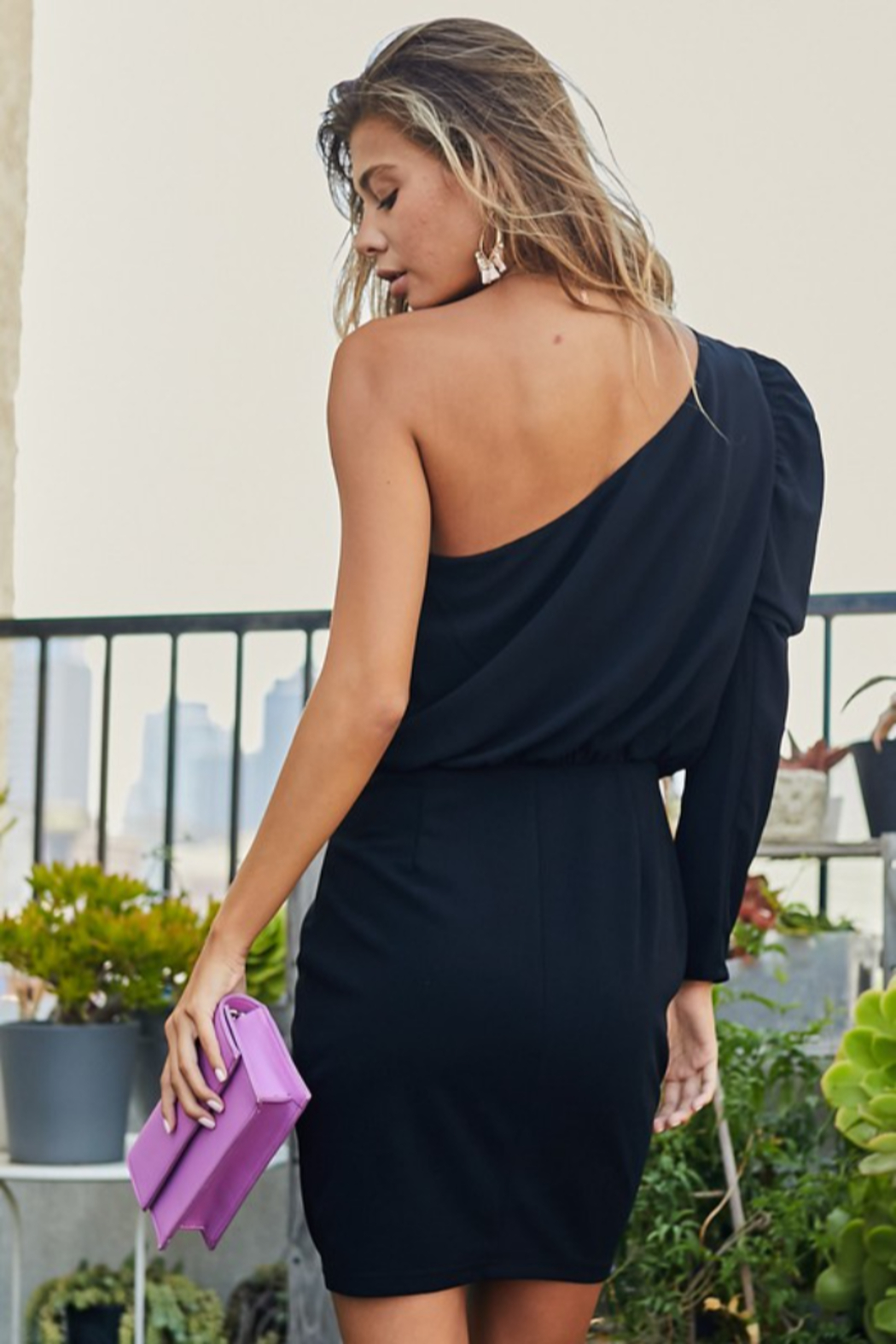 main strip  Puff Sleeve Back Zipper Solid Dress - Front Full Image