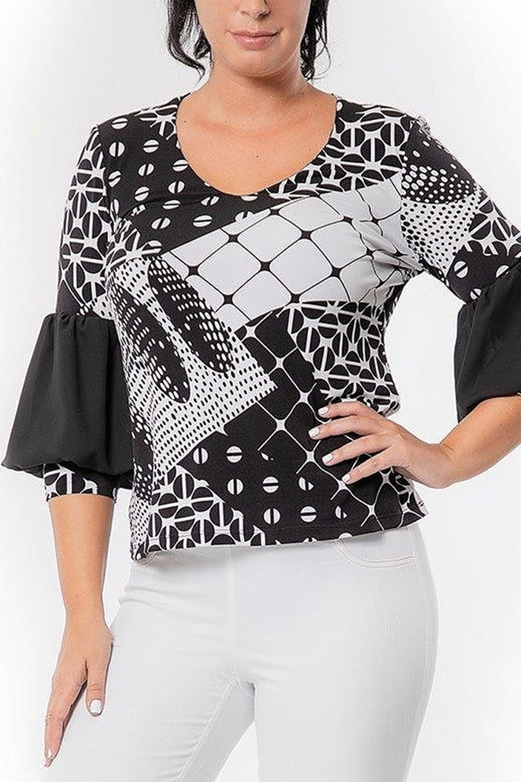 Bali Corp. Puff Sleeve Black & White Blouse - Front Cropped Image
