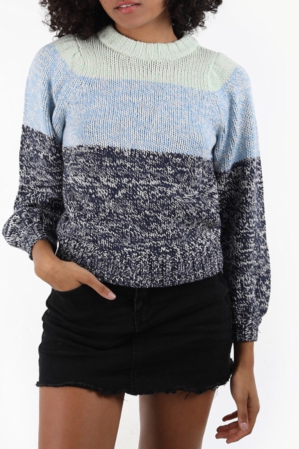 525 America Puff Sleeve Blue Tone Sweater - Main Image