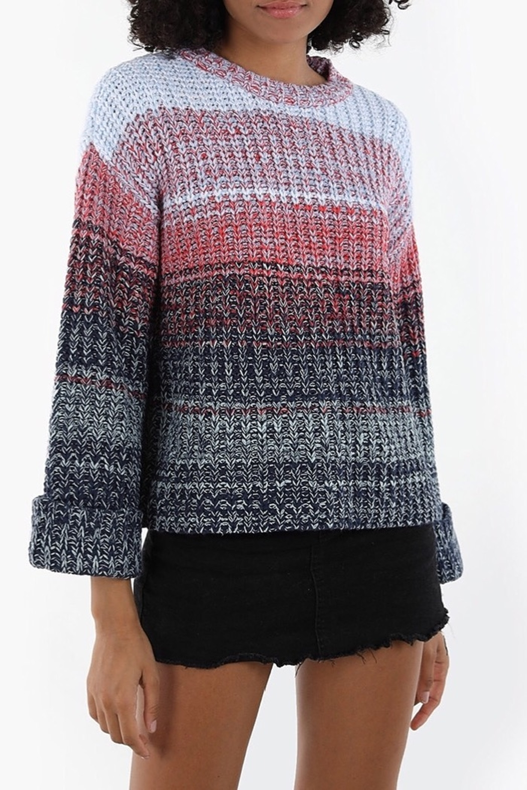 525 America Puff Sleeve Blue Tone Sweater - Front Cropped Image