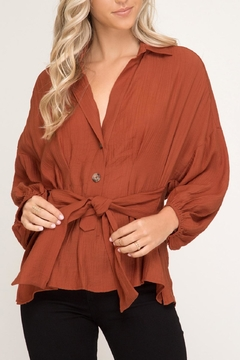 She + Sky Puff-Sleeve Button-Down Shirt - Product List Image