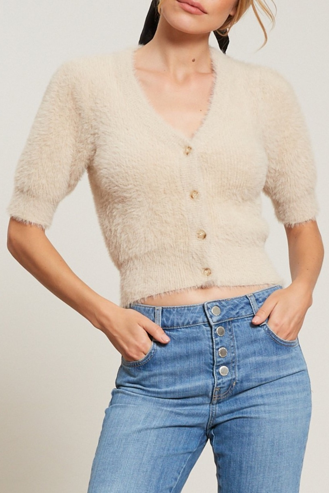 Lucy Paris  Puff sleeve cardigan - Main Image