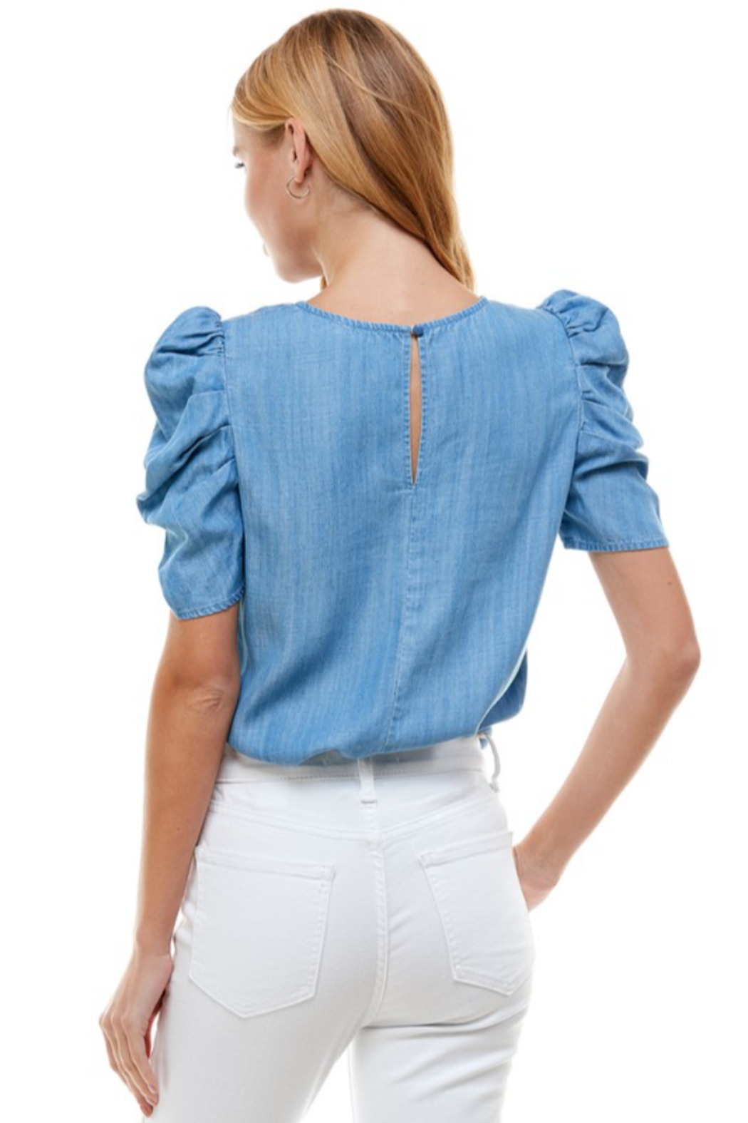 TCEC Puff Sleeve Denim Top - Side Cropped Image