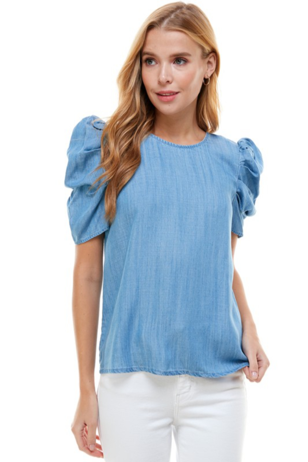 TCEC Puff Sleeve Denim Top - Back Cropped Image