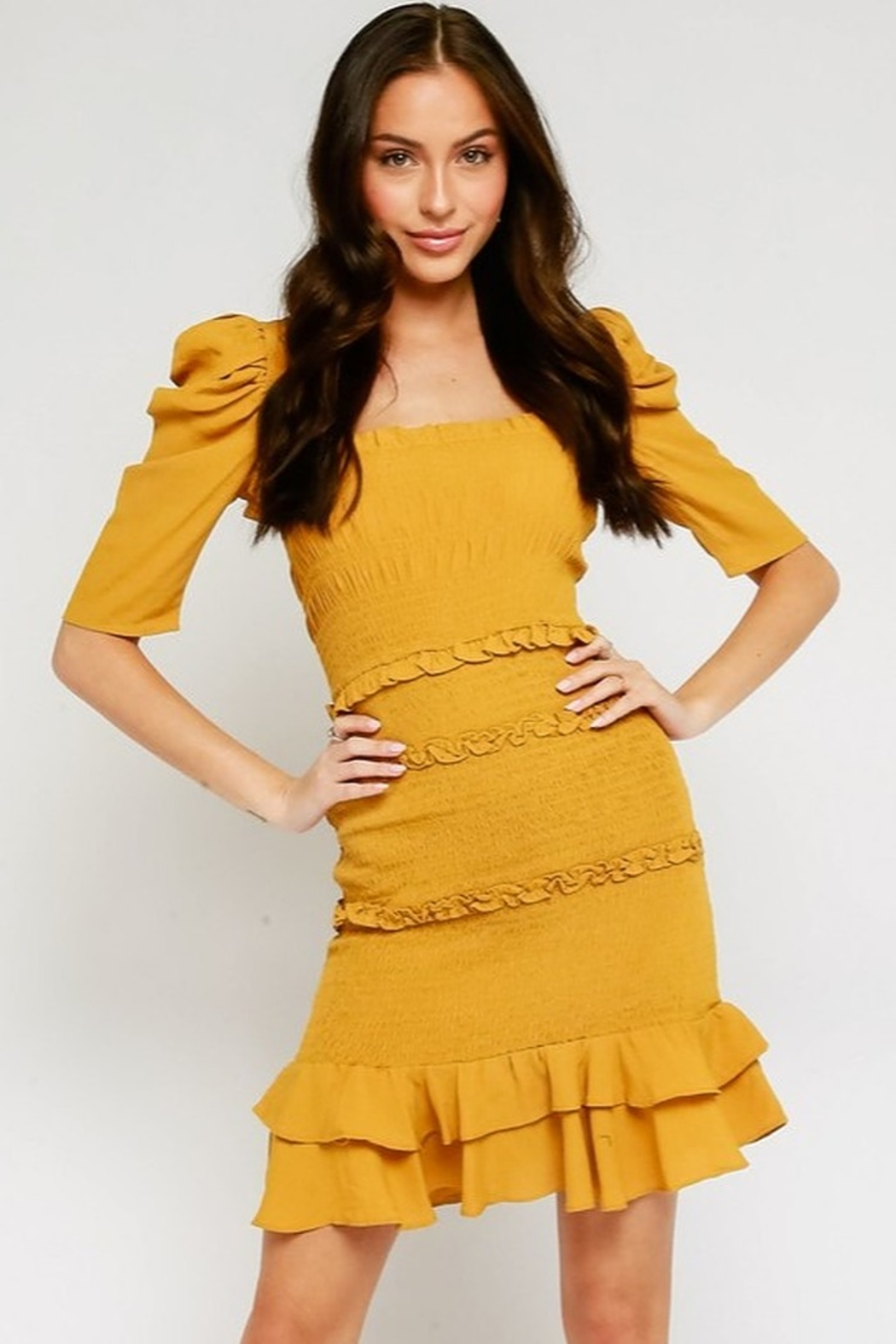 Olivaceous Puff Sleeve Dress - Front Cropped Image