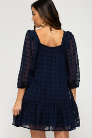 She + Sky Puff Sleeve Dress - Front full body