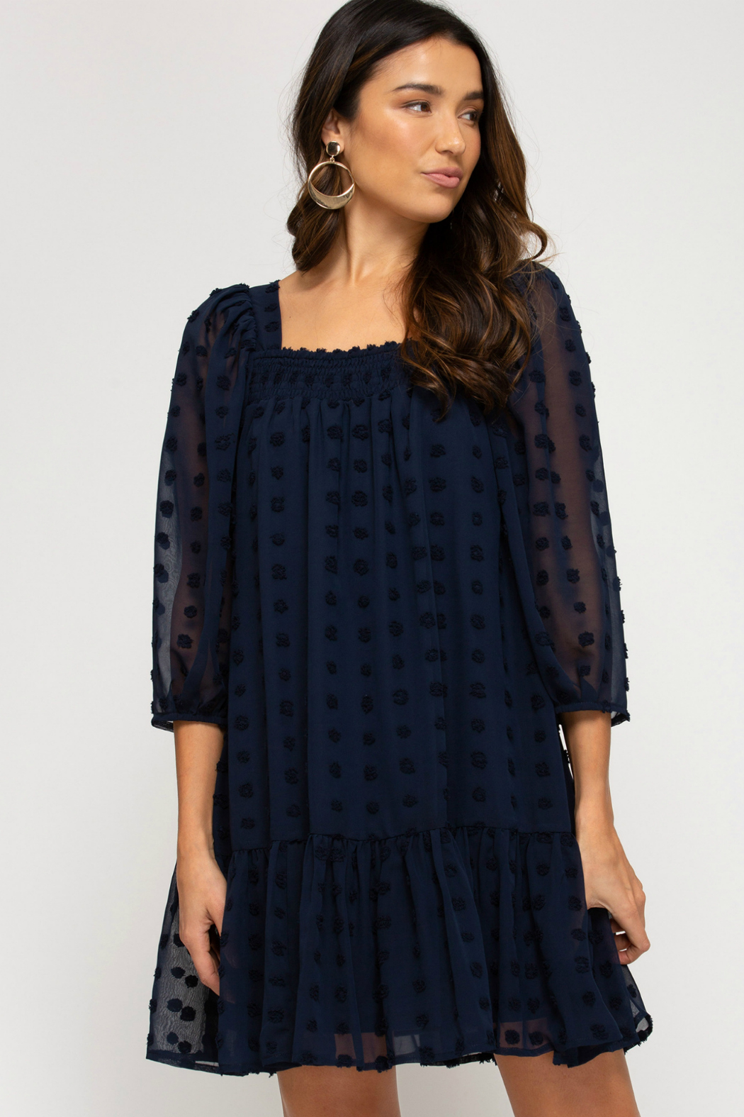 She + Sky Puff Sleeve Dress - Main Image