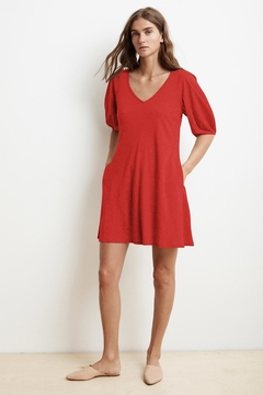 Velvet Puff Sleeve Dress - Alternate List Image