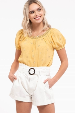 blu pepper  PUFF SLEEVE EMBROIDERED TOP - Product List Image