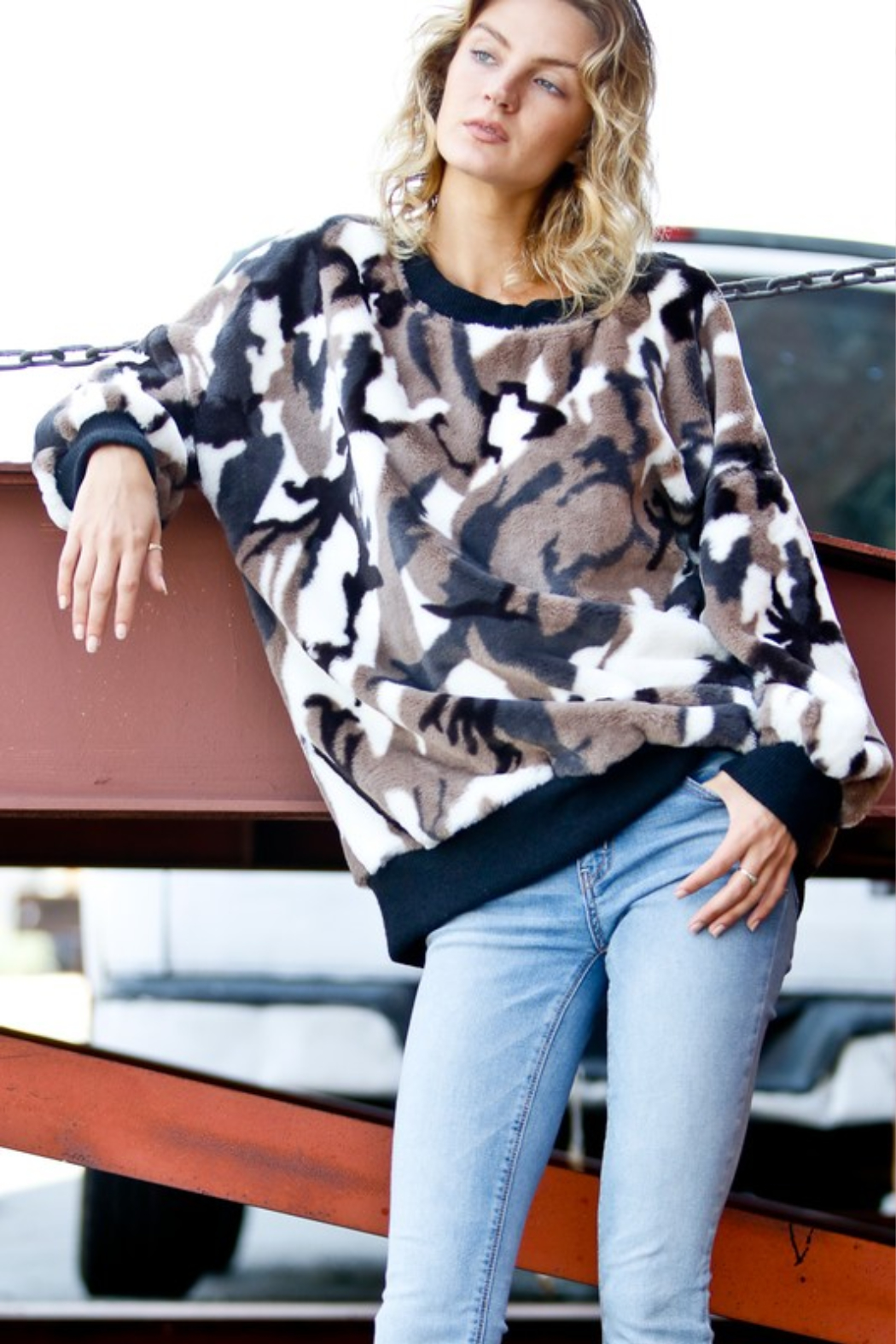 Mazik Puff Sleeve Faux Fur Pullover - Main Image