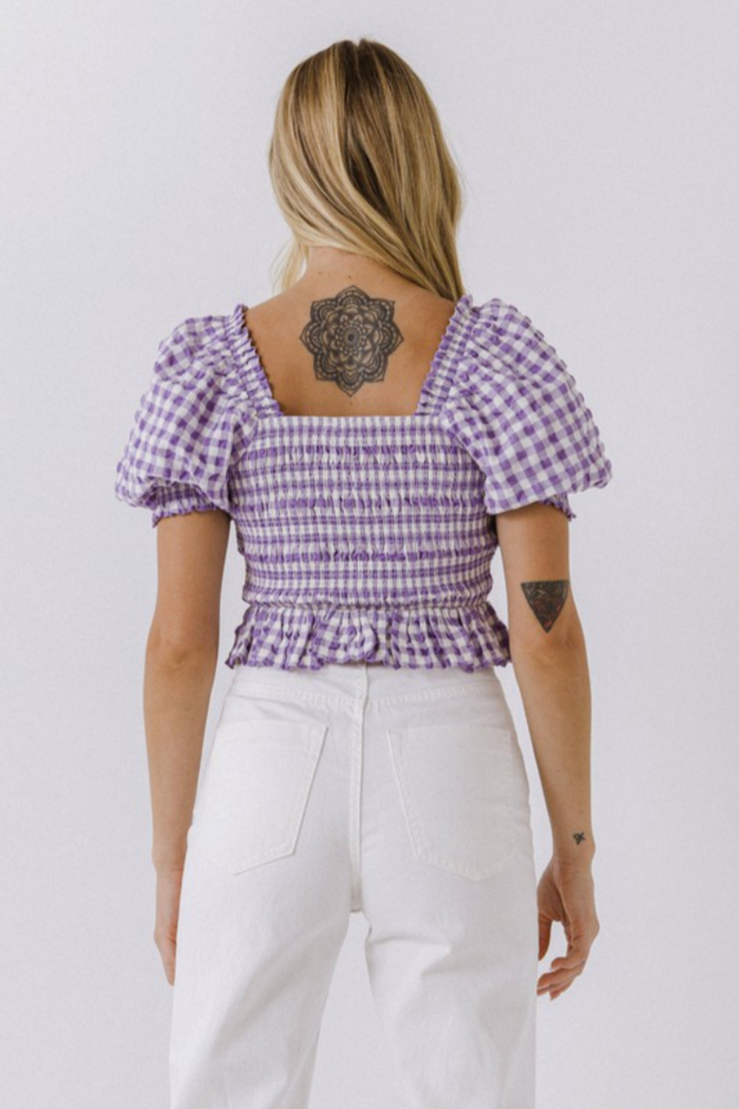 FREE THE ROSES Puff Sleeve Gingham Top - Front Full Image
