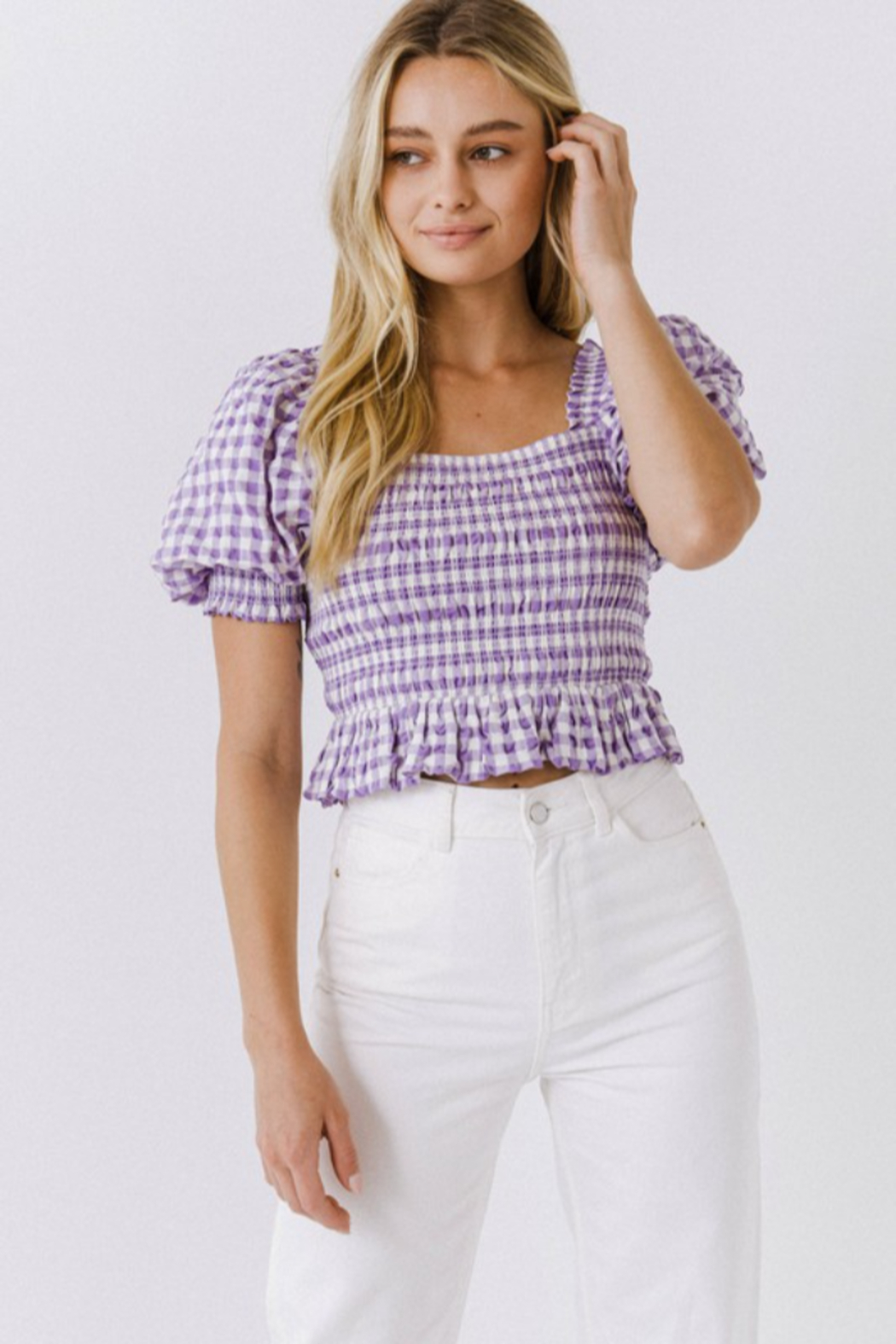 FREE THE ROSES Puff Sleeve Gingham Top - Front Cropped Image