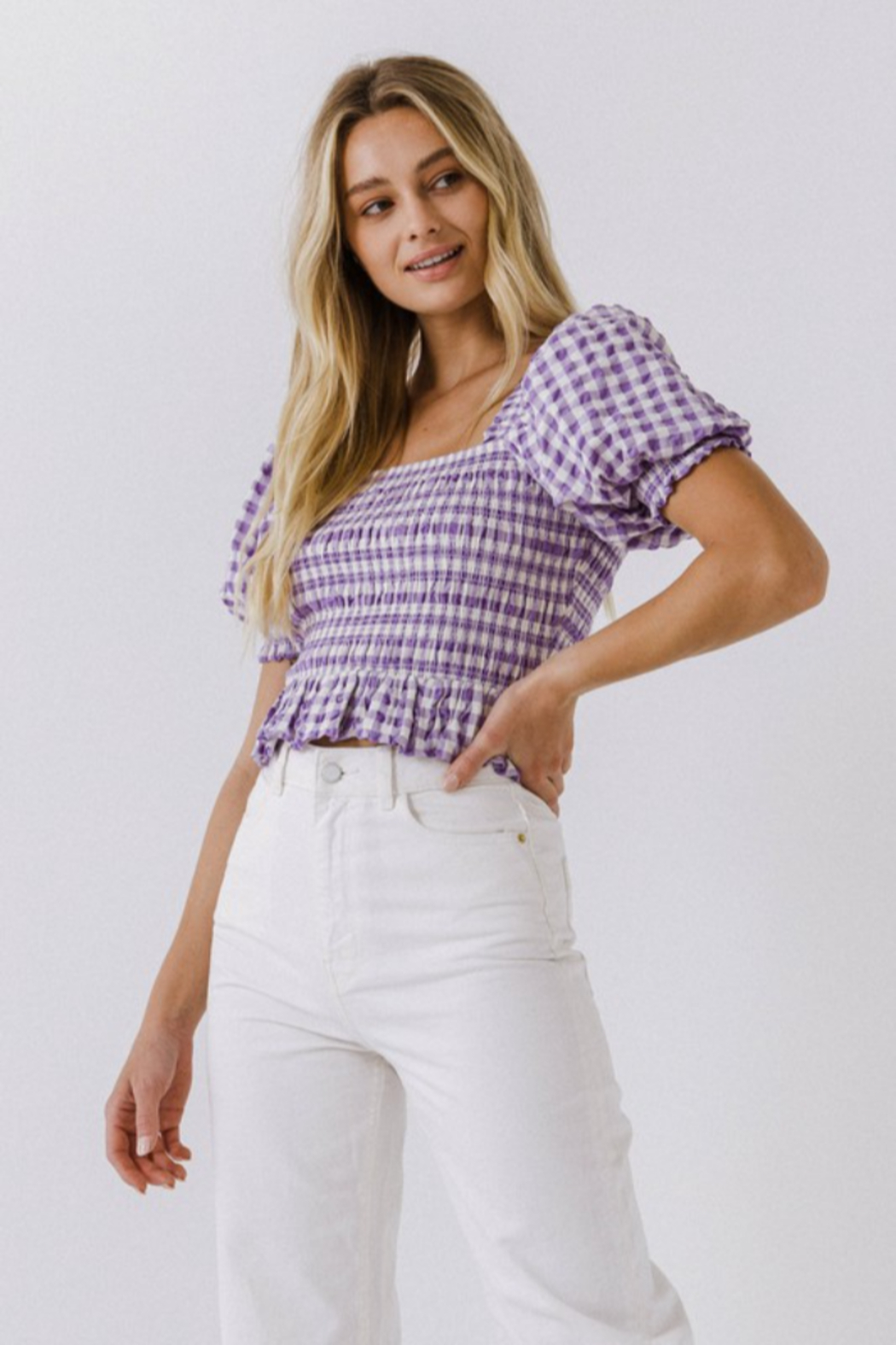 FREE THE ROSES Puff Sleeve Gingham Top - Side Cropped Image