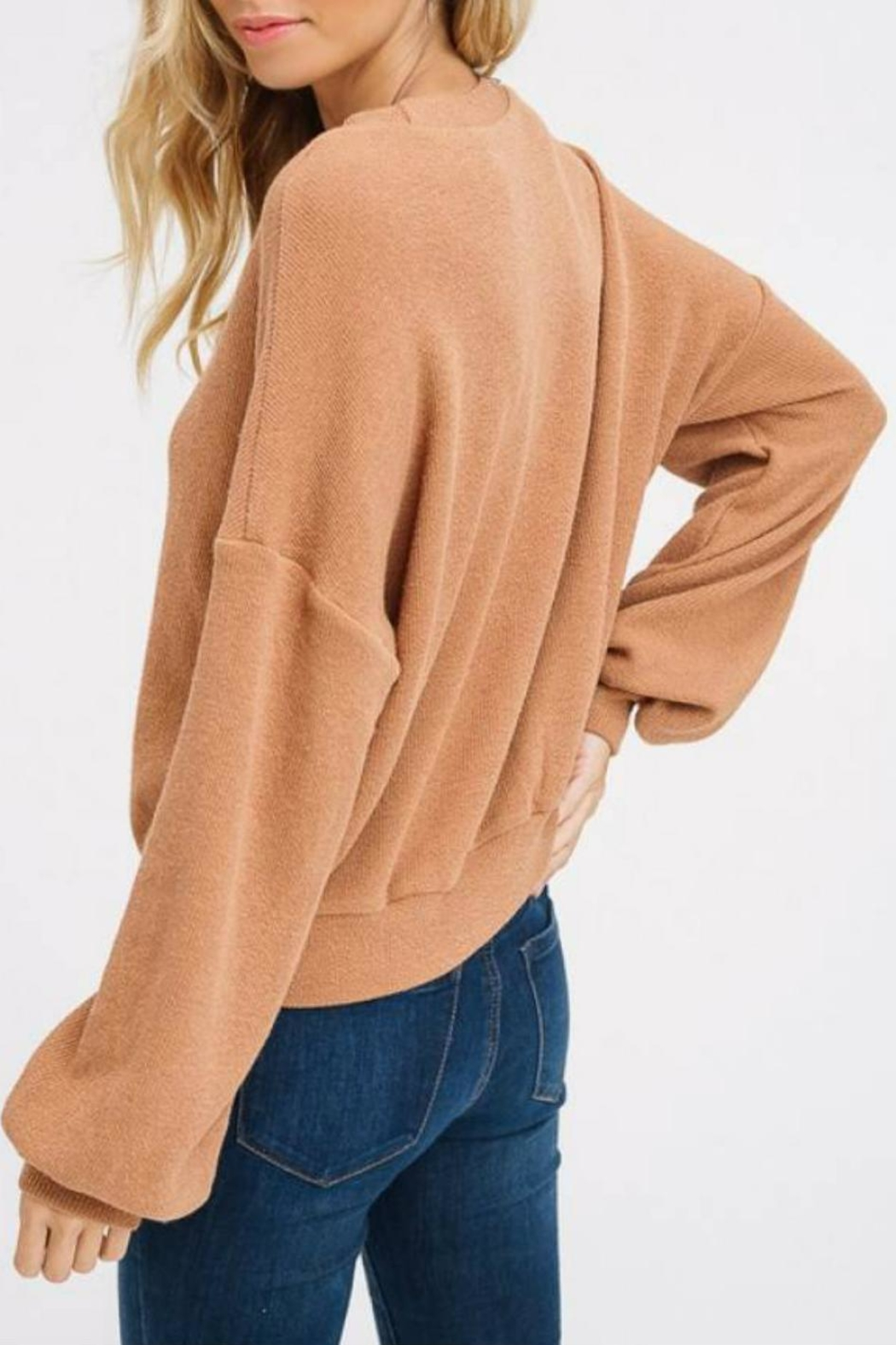 Listicle Puff-Sleeve Knit Top - Back Cropped Image