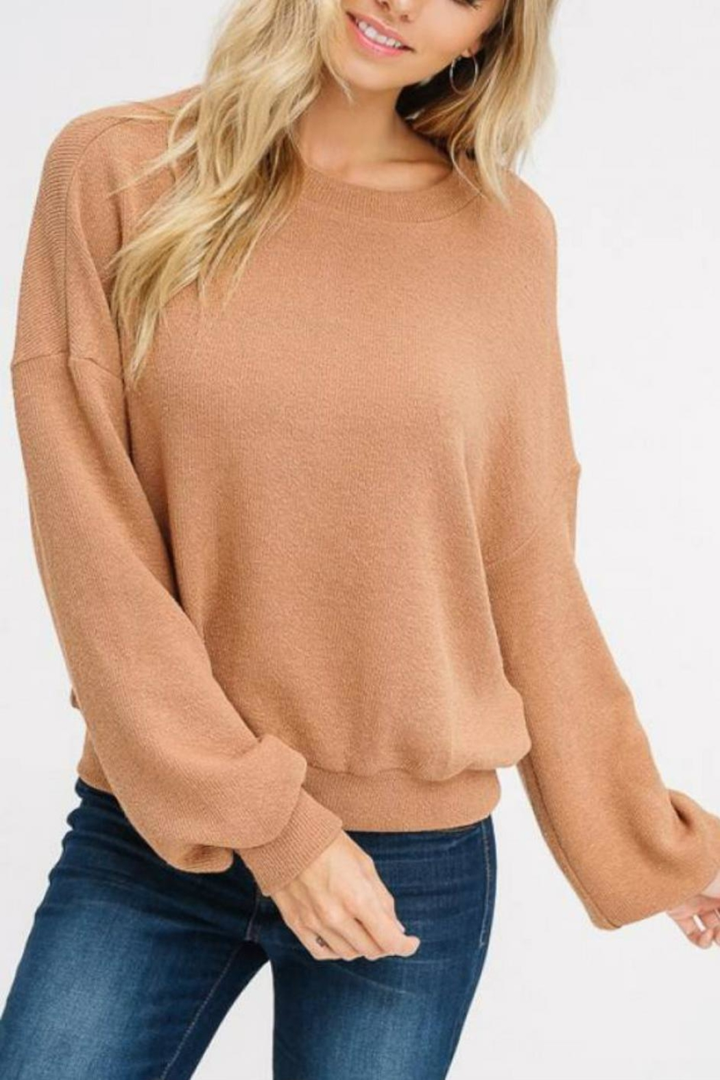 Listicle Puff-Sleeve Knit Top - Main Image