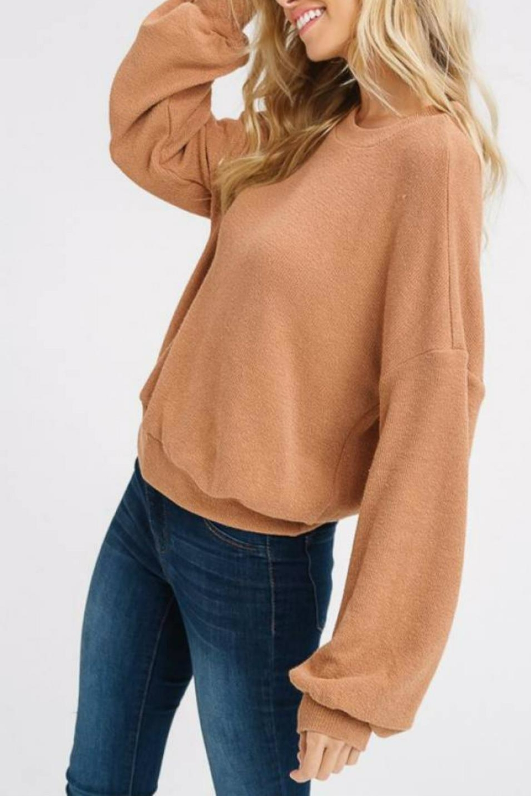Listicle Puff-Sleeve Knit Top - Front Full Image