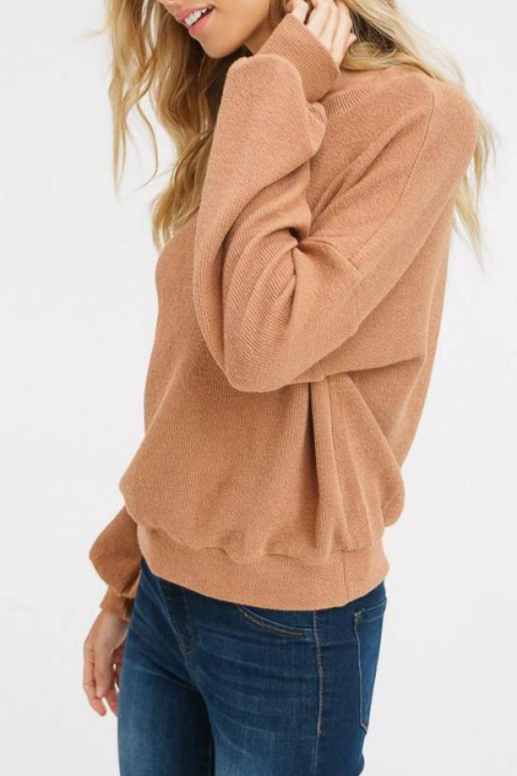 Listicle Puff-Sleeve Knit Top - Side Cropped Image