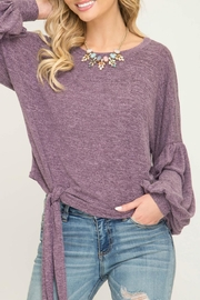 She + Sky Puff-Sleeve Knot Front - Product Mini Image