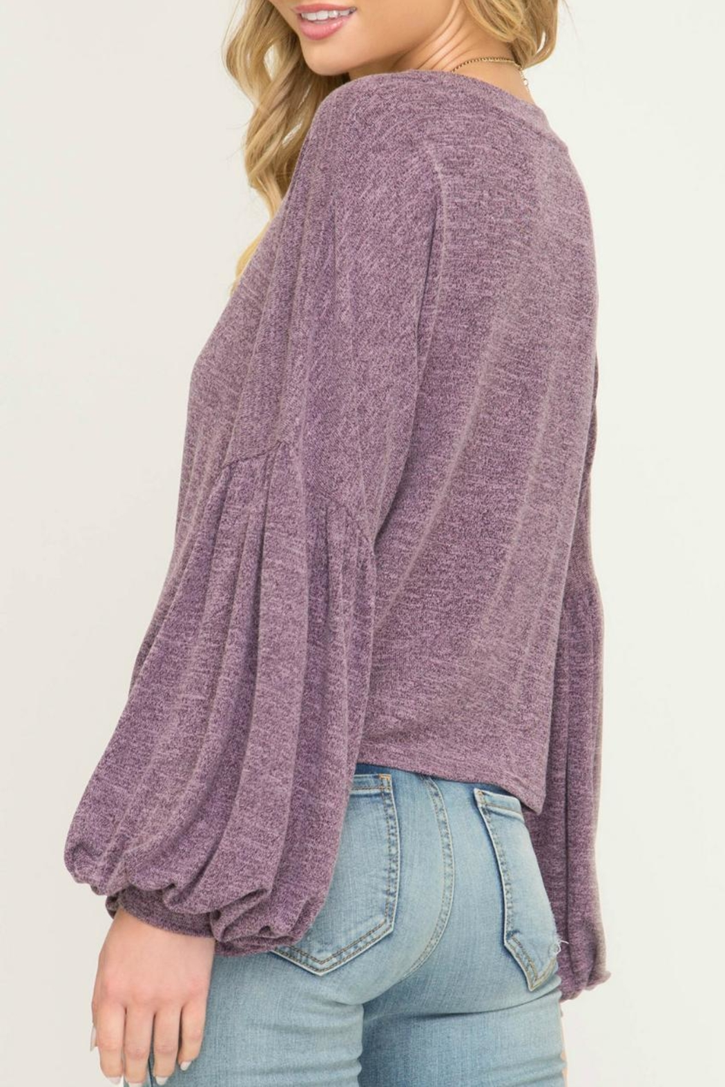 She + Sky Puff-Sleeve Knot Front - Front Full Image