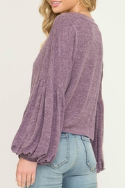 She + Sky Puff-Sleeve Knot Front - Front full body