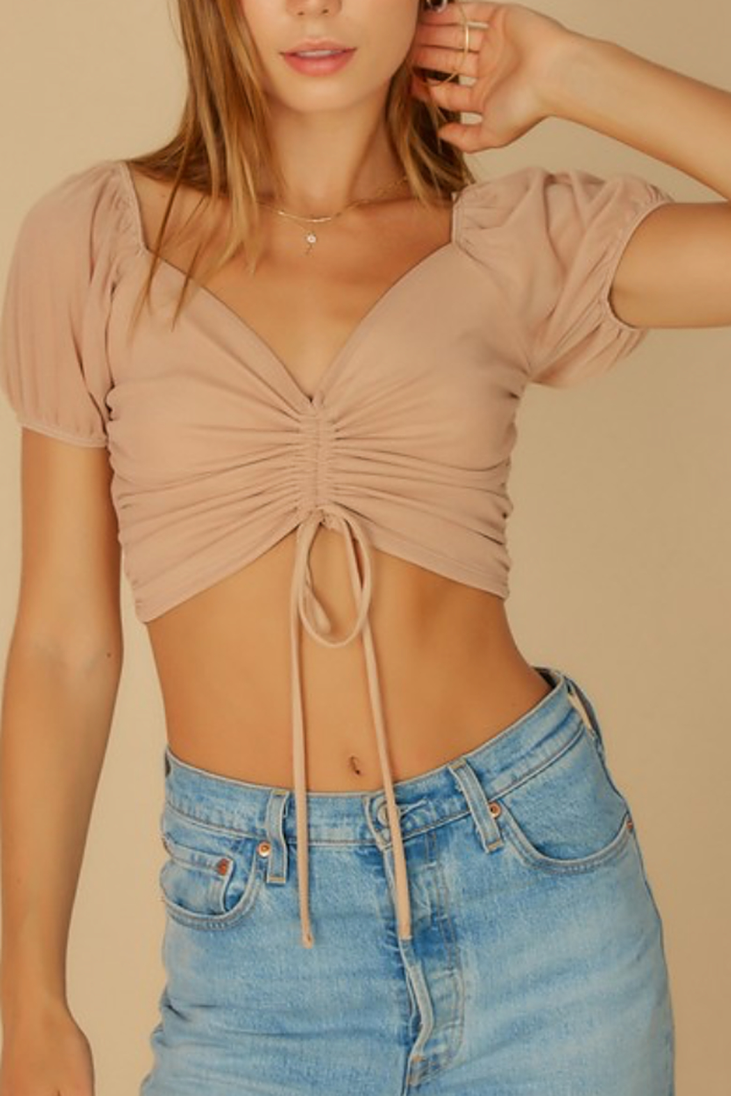 blue blush Puff Sleeve Mesh Top - Front Cropped Image