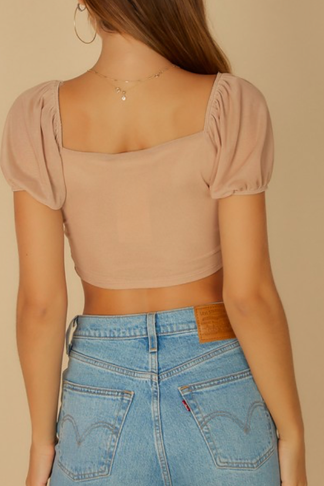 blue blush Puff Sleeve Mesh Top - Back Cropped Image