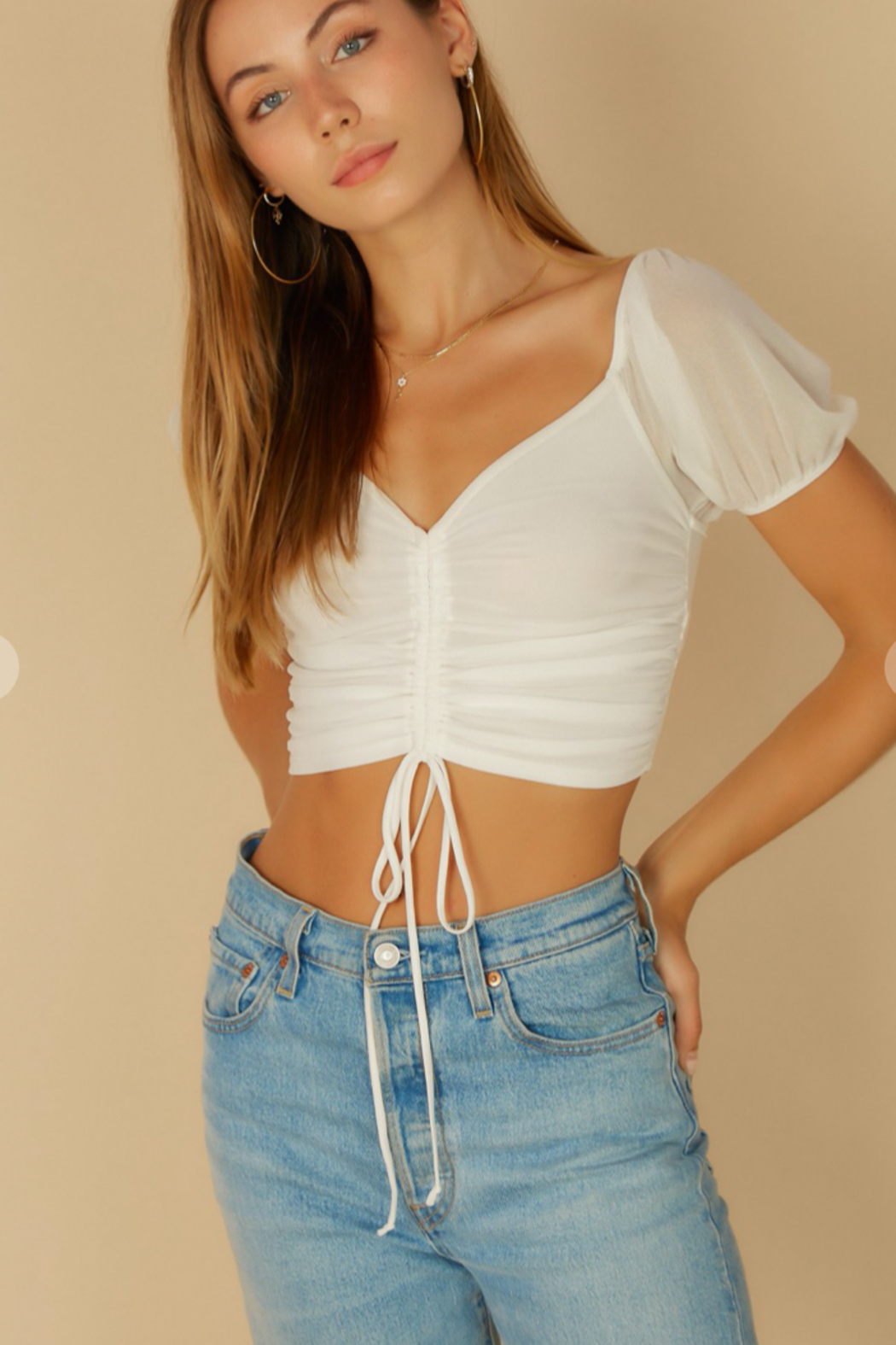 blue blush Puff Sleeve Mesh Top - Front Full Image