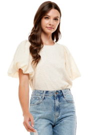 On Twelfth Puff Sleeve Metallic Blouse - Front cropped