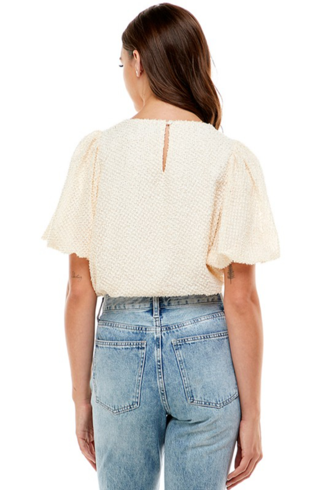 On Twelfth Puff Sleeve Metallic Blouse - Side Cropped Image