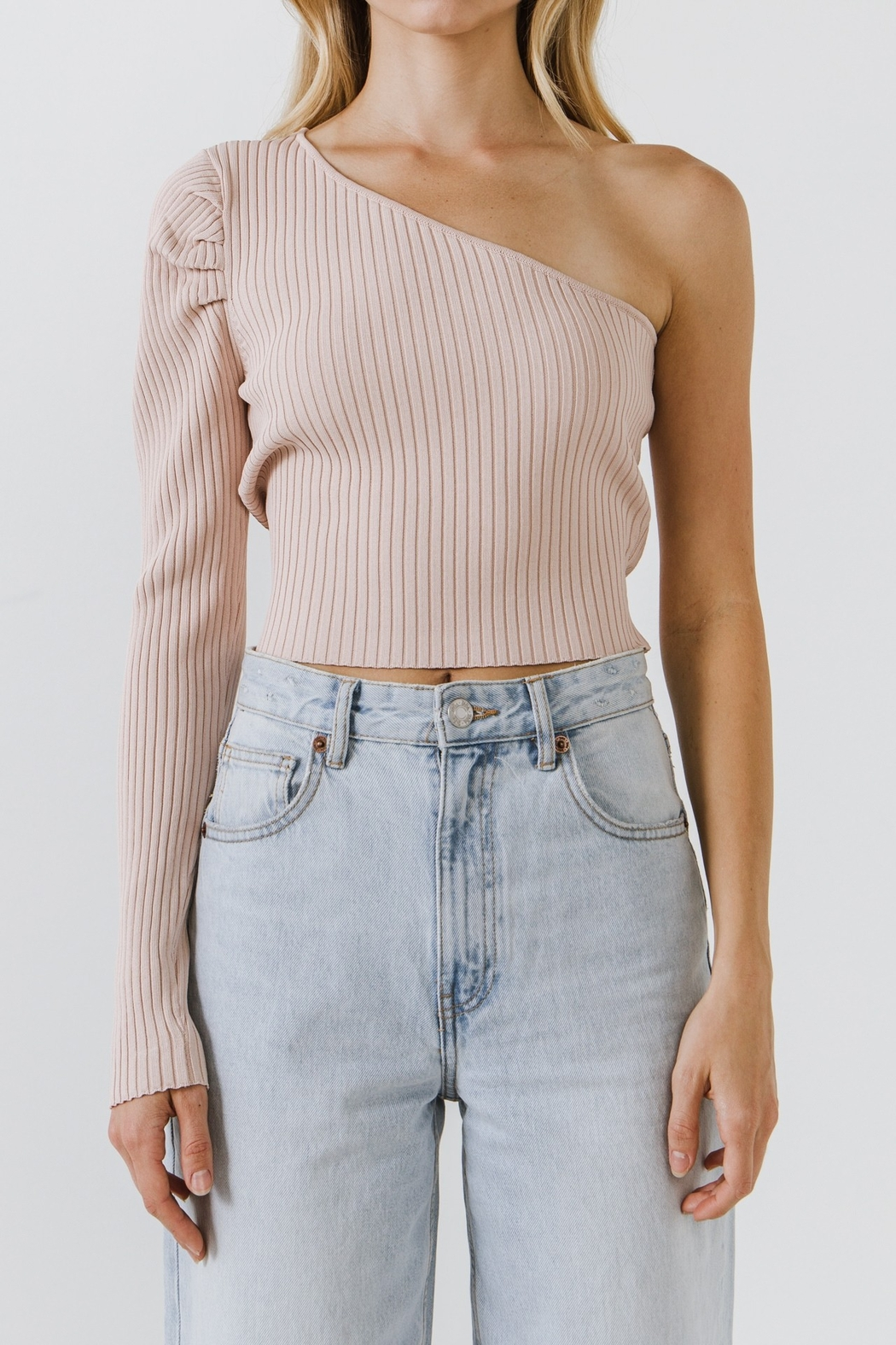 Endless Rose Pria Puff Sleeve One Shoulder Top - Front Full Image