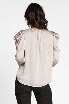 Current Air  Puff Sleeve Round Neck Silky Blouse - Alternate List Image