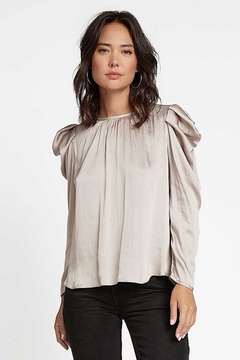 Current Air  Puff Sleeve Round Neck Silky Blouse - Product List Image